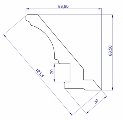 RS141 Карниз верхний МДФ 3660*123,5*32,2